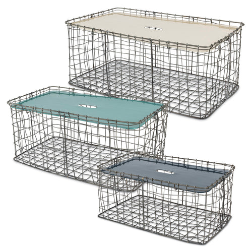 Rectangular Stacking Chicken Wire Baskets with Enameled Top (Set of 3)