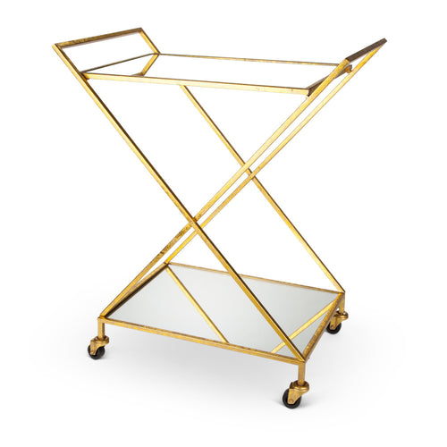 Rolling, Golden Metal Bar Cart on Casters with Mirror Shelves