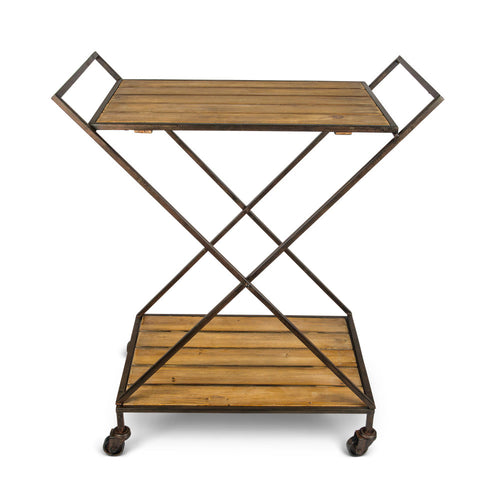 Rolling, Rustic Metal Bar Cart on Casters with Wooden Shelves