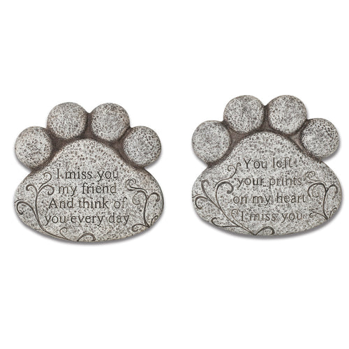 10-Inch Long Cement Pet Memorial Paw Print Stepping Stones (Set of 2)