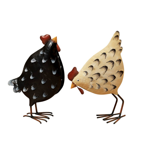 12.5-Inch Tall Metal Chicken Figurines (Set of 2)