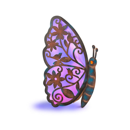 15 In. Solar Powered Metal Butterfly Figurine, Color Changing Light