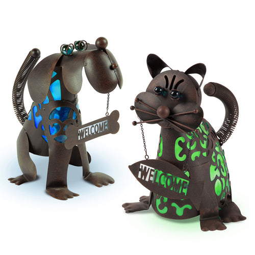 14 In. Solar Powered Metal Welcome Dog and Cat Figurines (Set of 2)