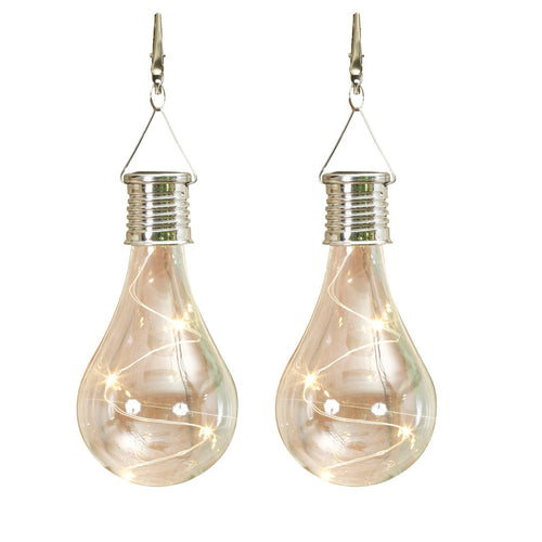 2-Pack of Solar Powered Edison Light Bulbs with Metal Clip for Hanging