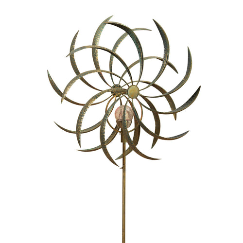 63-Inch Tall Solar-Powered Double Spiral Metal Wind Spinner