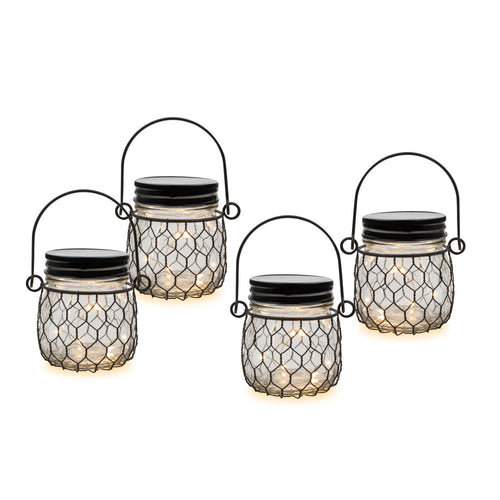 4 Inch Battery Op. Clear Glass Mason Jars, Black Netting (Set of 4)