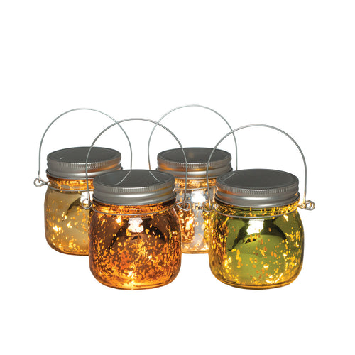 3.75-Inch Tall Battery-Operated Mercury Glass Mason Jars (Set of 4)