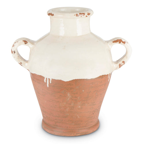 13 In. Terracotta Jug, Antique Cream, Dipped Artisan Finish, Handles