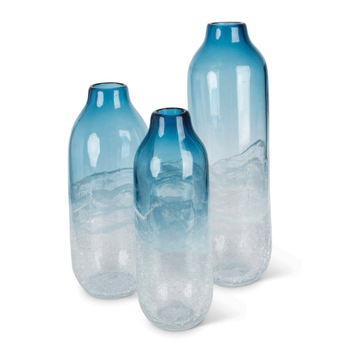 Assorted-sized Artisanal Smooth Glass Vases in Milky White and Indigo Blue (Set of 3)