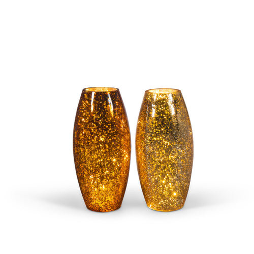 S/2 Ast Crackle Glass Vases