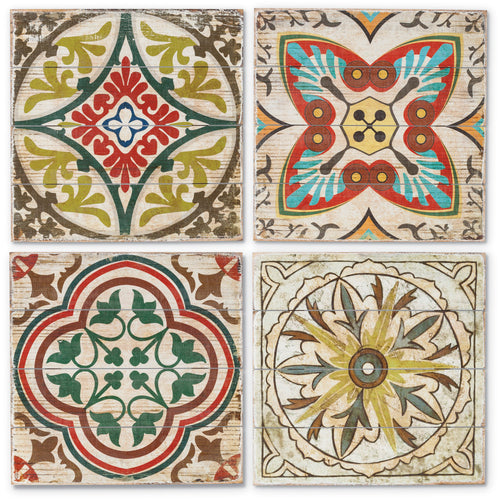 16 In. Square Wall Art Tiles Multicolor Bohemian, Fir Wood (Set of 4)