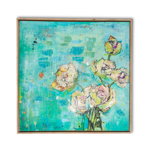 32 Inch Floral Bouquet Wall Art Canvas, Natural Wooden Frame