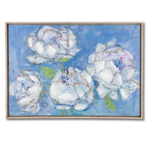 Framed Print of White Peonies with Blue Background on Canvas with Fir Wood Frame