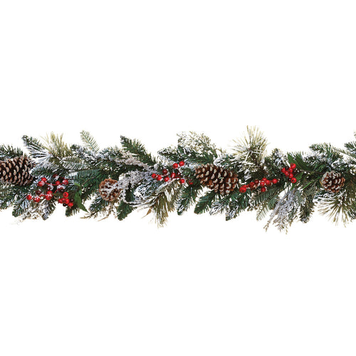 6-Ft Snowy Garland with Pine Cones and Berries (Set of 2)