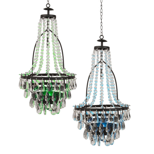 20 In. Solar Powered Hanging Chandeliers, Acrylic Beaded (Set of 2)