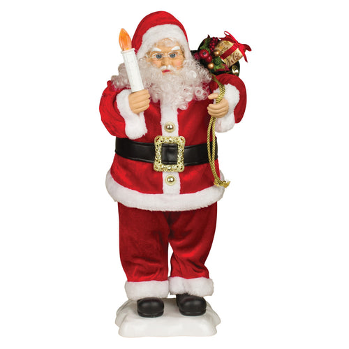 24-Inch Tall Animated Standing Santa with Presents and Candle