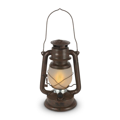 11 In Brown Hurricane Camping Lantern with FireGlow™ LED, Dimmable