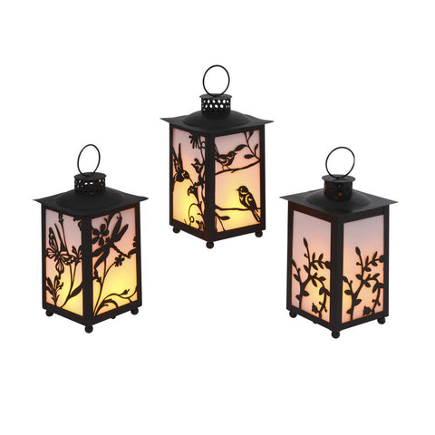 Hurricane Lantern, Small 3 x 5.5 inch, Metal with Glass Sides, Door, Black
