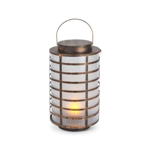 Metal Candle Lantern, Small 3.5 x 7 inch, Glass Panels, Hinged Door, Black