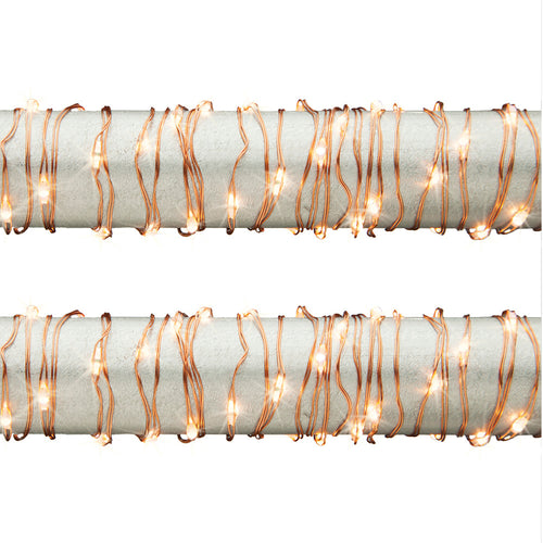 10 Ft Outdoor Fairy LED Warm White Light String Copper Wire (Set of 2)