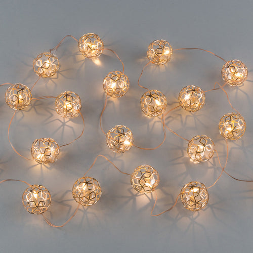 10-Foot Long LED Gold Star Sphere Light String with Timer Feature