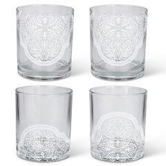 Double Old-Fashioned Glasses with Frosted Moroccan Bee Mandala Accents (Set of 4)
