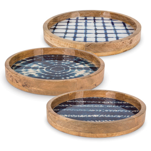 16 In. Mango Wood Serving Trays, Indigo Tie Dye Patterns (Set of 3)
