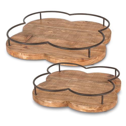 Assorted-Size Quatrefoil Wooden Trays with Metallic Railed Edge and Wooden Base (Set of 2)