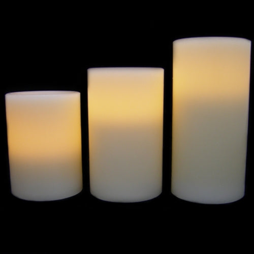 Vanilla-Scented Wax Pillar Candles, Timer, Set of 3: 4/5/6 in. x 3 in.