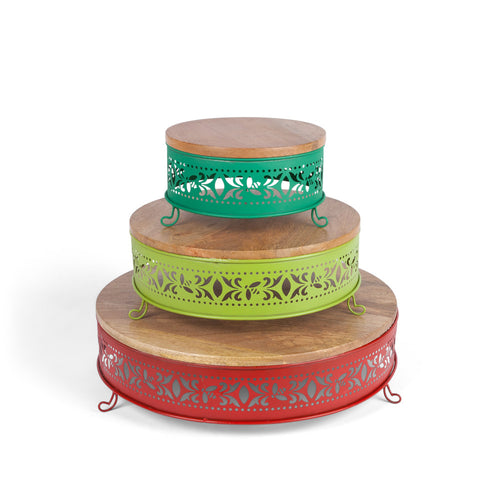 Wooden and Metallic Tiered Fiesta Server Pedastals in Assorted Sizes (Set of 3)