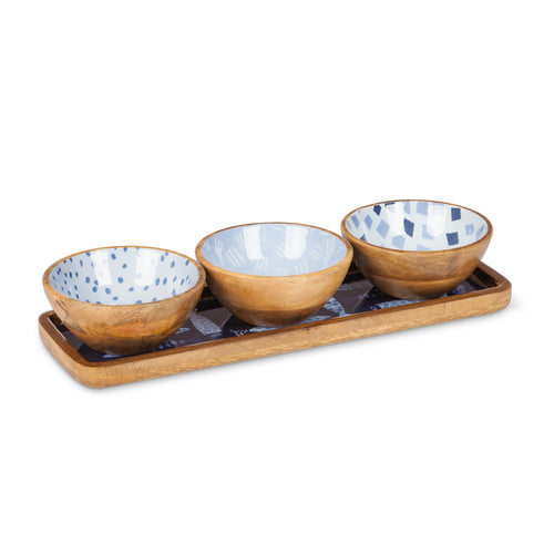 Wood Bowls on Tray