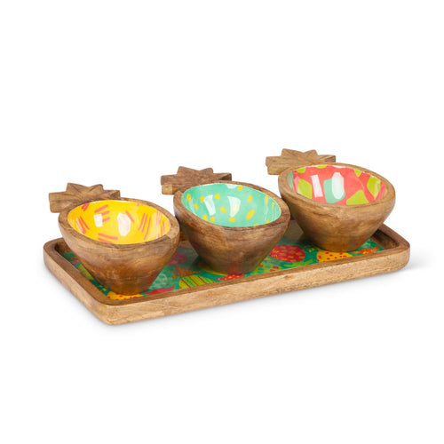 Wood Pineapple Bowls on Tray