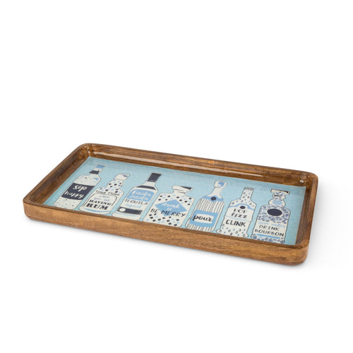 Blue Bar Wood Serving tray