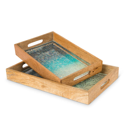 S/2 Blue Mosaic Wood Trays