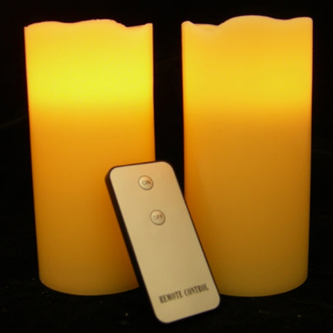 Flameless Wax Pillar Candles, Remote Control, Vanilla, 3in, Ivory, 3Pk