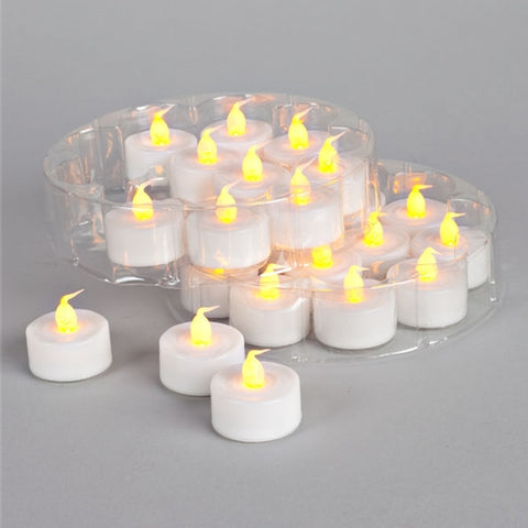 Flickering Amber LED Tea Lights, 24 Pack, Battery Operated