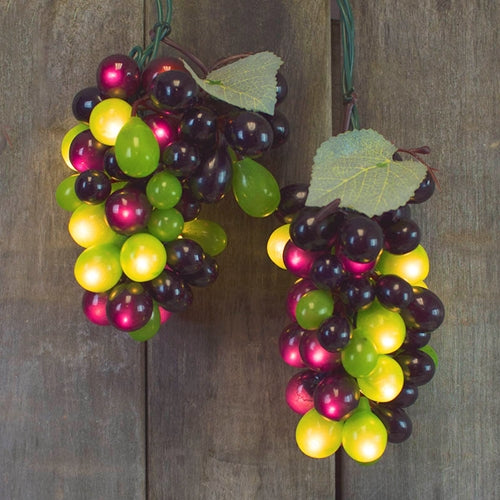 Grape Vine String Lights, Indoor/Outdoor, 6 Ft, 5 Clusters, Red/Green