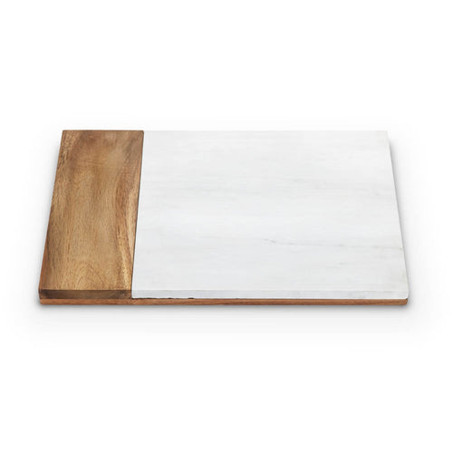 Country Cottage: White Marble & Acacia Wood Cheese Board, Serving Platter by Twine