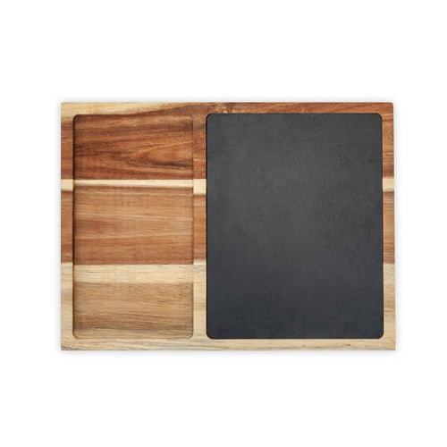 Rustic Farmhouse™ Acacia Wood and Slate Appetizer Board, Serving Platter by Twine (Chalk Included)