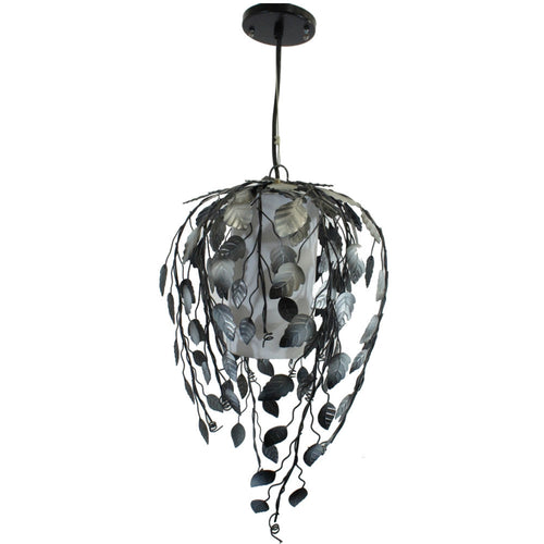 Pendant Light Lamp, Metal Vine Shade, Hardwire, 9 X 12 Inches, Black and Silver