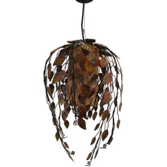 Pendant Light Lamp, Metal Vine Shade, Hardwire, 12 X 18 Inches, Brown