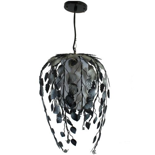 Pendant Light Lamp, Metal Vine Shade, Hardwire, 12 X 18 Inches, Black and Silver