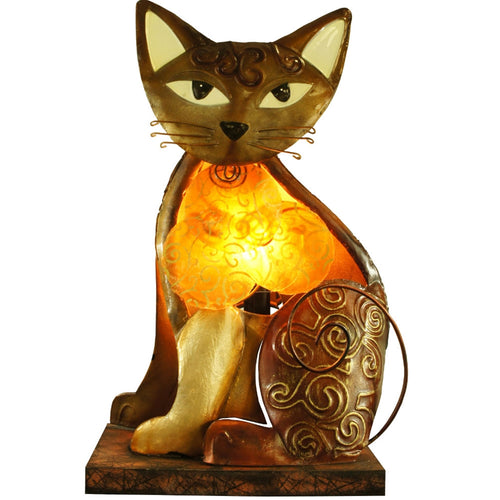 Abstract Gold Cat Table Lamp, Metal, Wood, Light Fixture, Night Light