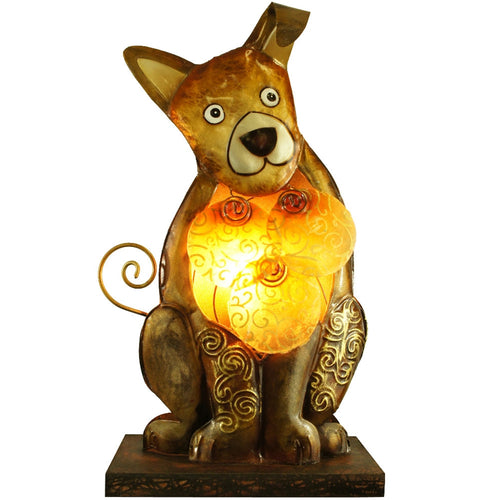 Abstract Dog Table Lamp, Metal, Wood, Light Fixture, Puppy Night-Light
