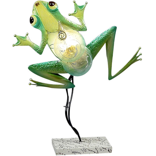 Green Tree Frog Table Lamp, Home Decor Piece, Metal Frog Night Light