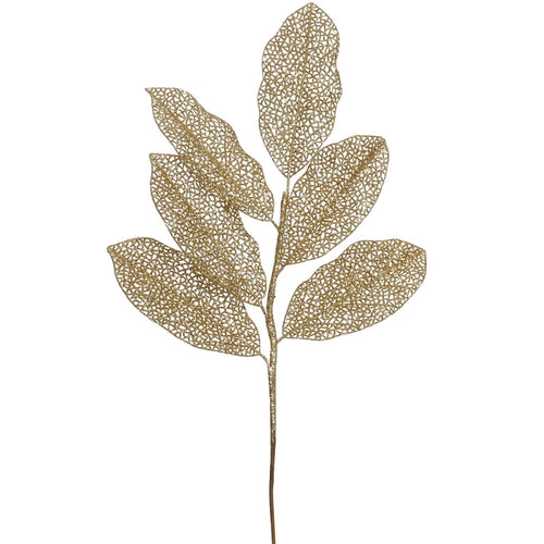 Glitter Magnolia Leaf Spray, Metallic Branch, 20 inch, Gold, 12 Pack