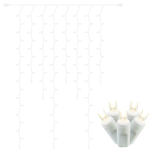 LED Curtain Icicle Lights, 5 feet by 10 feet, Plug-in, Warm White
