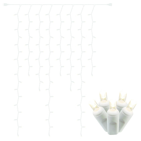 LED Curtain Lights, Silver Wire, 3 feet by 6 feet, Plug-in, Warm White