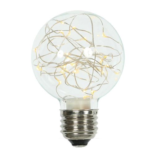 Glass Bulb with Fairy Lights,  G95 5 in, E26/E27, Warm White