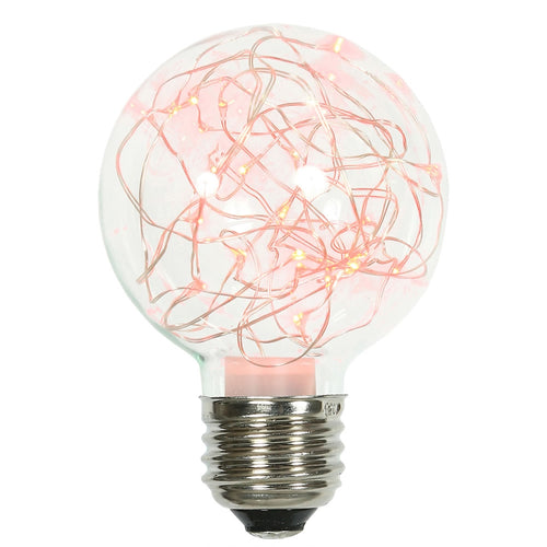 Glass Bulb with Fairy Lights,  G95 5 Inch, E26/E27, Red